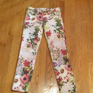 Tory Burch Pink Floral Super Skinny Jeans Size 26